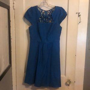 Anthropologie cutout blue dress
